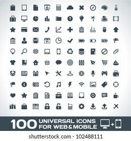 100 Universal Outline Icons For Web and Mobile - Shutterstock ID 102488111