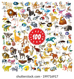 100 vector bright color cartoon animals for children abc education or flash card mobile games or book illustration