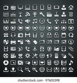 100 vector metallic icons