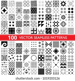 100 vector seamless pattern collection, geometric universal patterns, tiles and wallpapers - big pack.   Collection of different repetitive designs in black and white, perfect for wallpaper, textile.