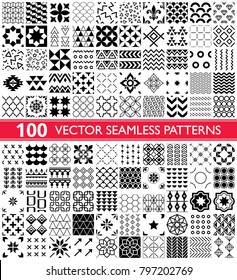 100 vector seamless pattern collection, geometric universal patterns and tiles - big pack.  Collection of different repetitive designs in black and white, perfect for wallpaper, textile, tiles, orname