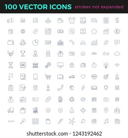 100 vector thin line icons set linear style. Simple outline icon with Editable stroke