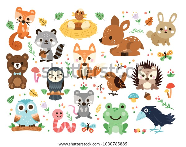 100% Vector woodland animals character, great for scrapbook, 15 cute and sweet animals
