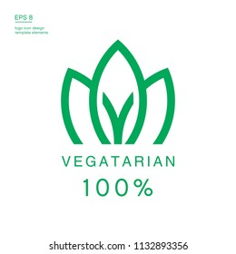 100% vegan icon design. Green vegan friendly symbol.