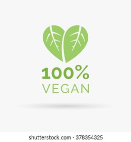 100% vegan icon design. Green vegan friendly symbol. Vegan food sign with leaves in heart shape design. Vector illustration.