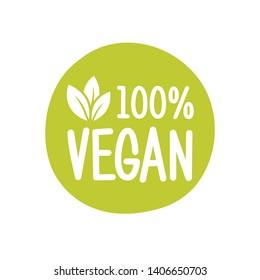100 vegan vector logo. Round eco green logo. Vegan food sign with leaves. tag for cafe restaurants packagingdesign.