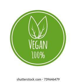 100% vegan vector logo. Round eco green logo. Vegan food sign with leaves. tag for cafe restaurants packagingdesign.