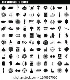 100 vegetables icon set. Simple set of 100 vegetables vector icons for web design isolated on white background