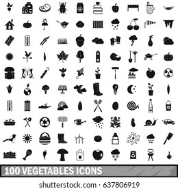 100 vegetables icons set in simple style for any design vector illustration