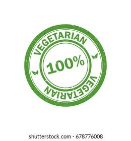 100% vegetarian stamp. Vegan logo. Green food watermark. Vector icon