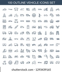 100 vehicle icons. Trendy vehicle icons white background. Included outline icons such as truck, cargo wagon, trailer, sport car, tractor, excavator. vehicle icon for web and mobile.