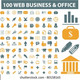 100 web, business, office icons, signs, vector illustrations
