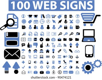 100 web icons set, signs, vector illustrations