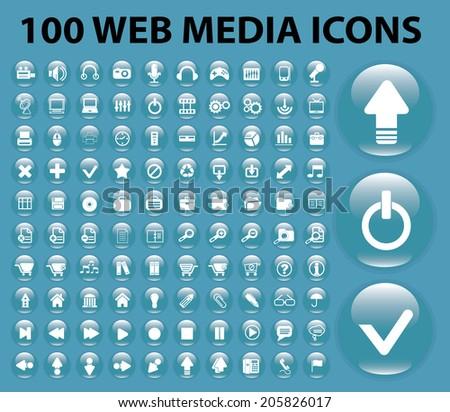 100 Web Media Mobile Internet Website Stock Vector Royalty Free