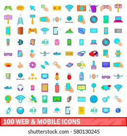 100 web and mobile icons set in cartoon style for any design vector illustration