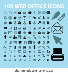 100 web, office, document, work, business, accessories black icons, signs, vector illustrations