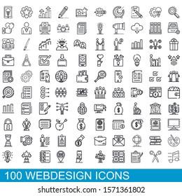 100 webdesign icons set. Outline illustration of 100 webdesign icons vector set isolated on white background