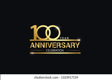 100 year anniversary celebration logotype. anniversary logo with golden and Spark light white color isolated on black background, vector design for celebration, invitation and greeting card - vector