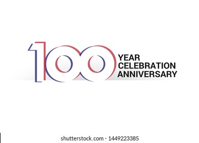 100 year anniversary, minimalist logo years, jubilee, greeting card. invitation. Sign Blue & Red Colors vector illustration on White background - Vector