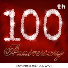 100 year anniversary retro label, 100th anniversary decorative poster - vector illustration  eps10