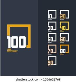 100 Year Anniversary Set 10 20 30 40 50 60 70 80 90 Vector Template Design Illustration