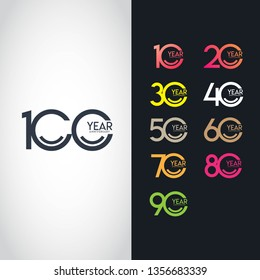 100 Year Anniversary Set 10 20 30 40 50 60 70 80 90 Vector Template Design Illustration