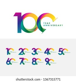100 Year Anniversary Set Vector Template Design Illustration