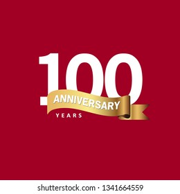 100 Year Anniversary Vector Template Design Illustration, with ribbon.