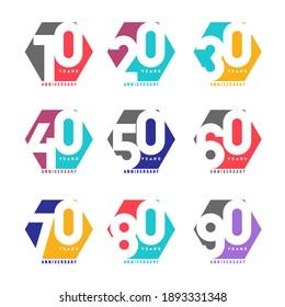 100 Year Pentagon Anniversary Set 10 20 30 40 50 60 70 80 90 Vector Template Design Illustration