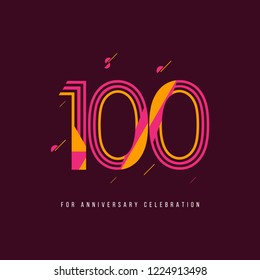 100 Year Retro Anniversary Celebration Vector Template Design Illustration