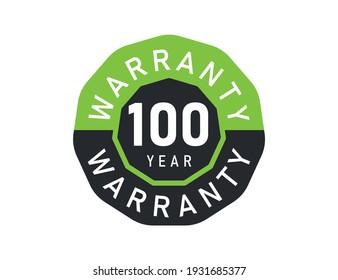 100 year warranty logo isolated on white background. 100 years warranty image