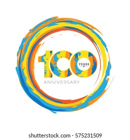 100 Years Anniversary Abstract Design Isolated White Background