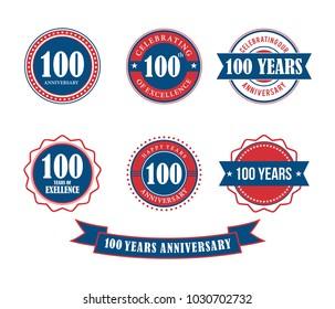 100 years anniversary badge emblem stamp vector set template
