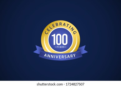 100 Years Anniversary Celebrating Blue Logo Vector Template Design Illustration