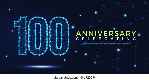 100 years anniversary celebrating numbers vector abstract polygonal silhouette. 100th anniversary concept. technology numbers vector illustration
