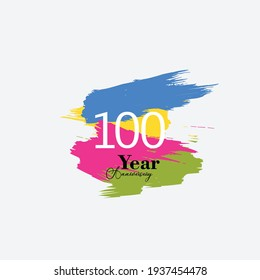 100 Years Anniversary Celebration Color Vector Template Design Illustration