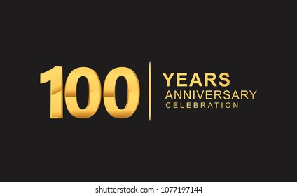 100 years anniversary celebration design with golden color isolated on black background for celebration event