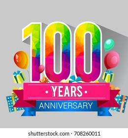 100 Years Anniversary Celebration Design, with gift box and balloons, red ribbon, Colorful polygonal logotype, Vector template elements for your birthday party.