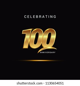 100 Years anniversary celebration golden logotype with swoosh isolated on black background, vector illustration design for greeting card, company event, invitation card, birthday