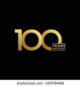100 years Anniversary Celebration with golden text on dark background, vector template.