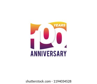100 Years Anniversary Celebration Icon Vector Logo Design Template. Gradient Flag Style.