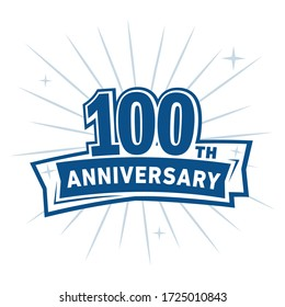 100 years anniversary celebration logo. 100th design template. Vector and illustration.