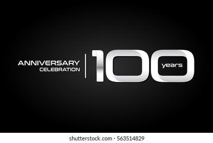 100 Years Anniversary Celebration Logo, White , Isolated on Dark  Background
