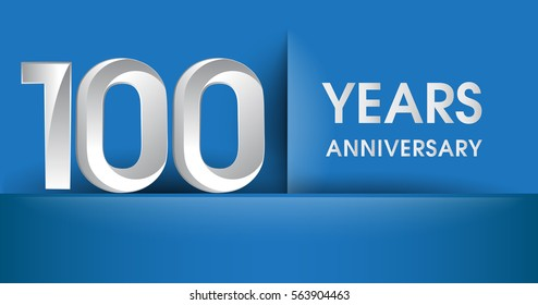 100 years Anniversary celebration logo, flat design isolated on blue background, vector elements for banner, invitation card and birthday party.