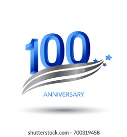 100 years anniversary. celebration logo design with swoosh and star