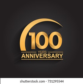 100 years anniversary celebration. Anniversary logo with swoosh and elegance golden color isolated on black background, vector design for celebration, invitation card, and greeting card