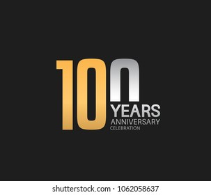 100 years anniversary celebration logotype. anniversary logo with golden and silver combination isolated on black background, vector design for celebration, invitation card, and greeting card