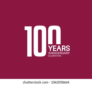 100 years anniversary celebration logotype. anniversary logo white color isolated on purple background, vector design for celebration, invitation card, and greeting card