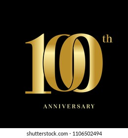 100 years anniversary celebration logotype  overlapping style with golden color. vector illustration isolated on dark background