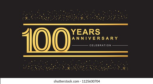 100 years anniversary celebration logotype with golden multiple line and confetti golden color isolated on black background, vector design for greeting card and invitation card